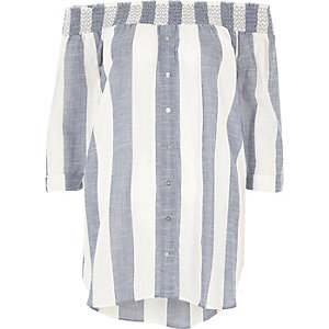 Blue stripe print bardot top