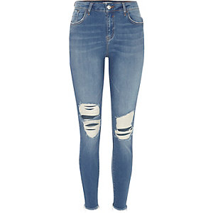 Amelie blauwe wash ripped superskinny jeans