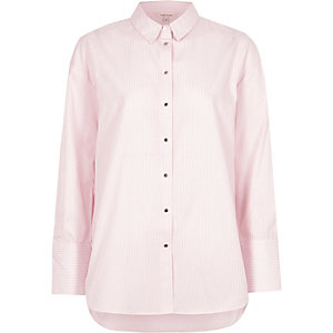 Pink stripe print oversized shirt