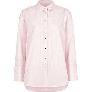 Chemise oversize rayée rose