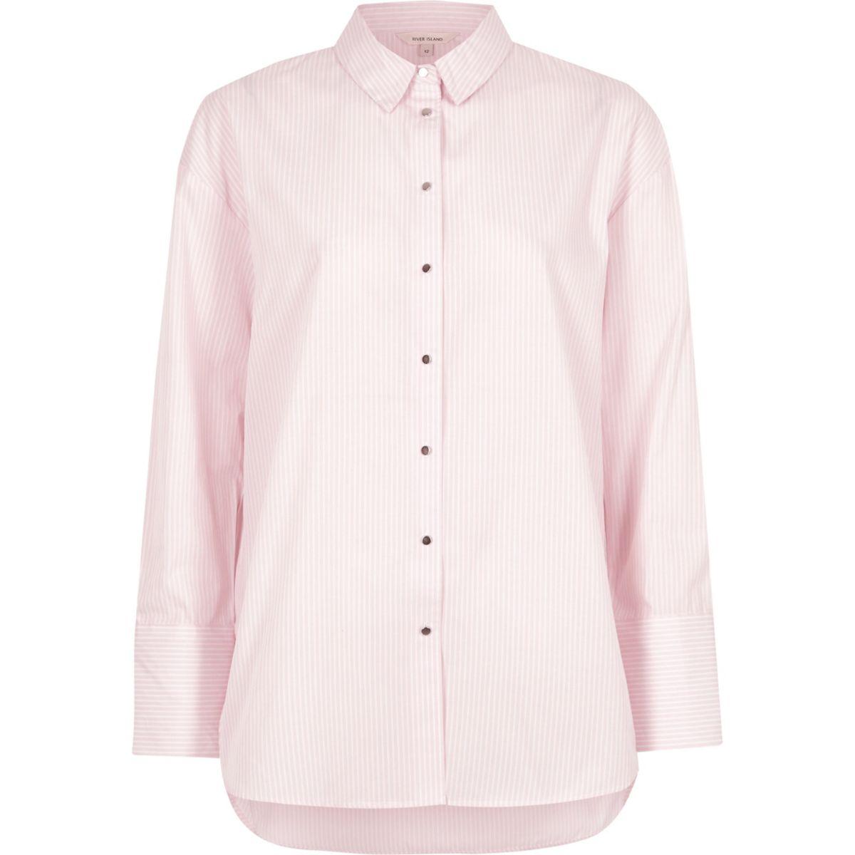 Pink stripe print oversized shirt