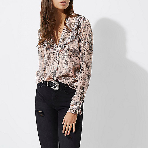 Pink floral and paisley frill bib blouse