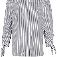 Grey stripe print long sleeve bardot top