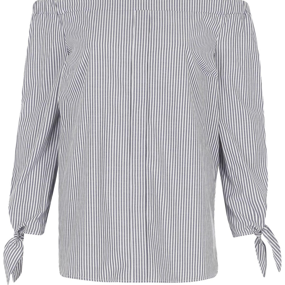 Grey stripe print long sleeve bardot top