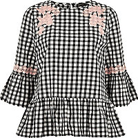 Black gingham lace smock top