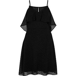 Zwarte schouderloze jurk van mesh met stippen