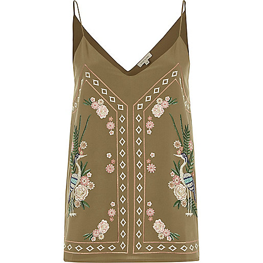 Khaki green heron embroidered cami top