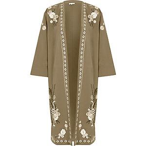 Khaki green heron embroidered kimono
