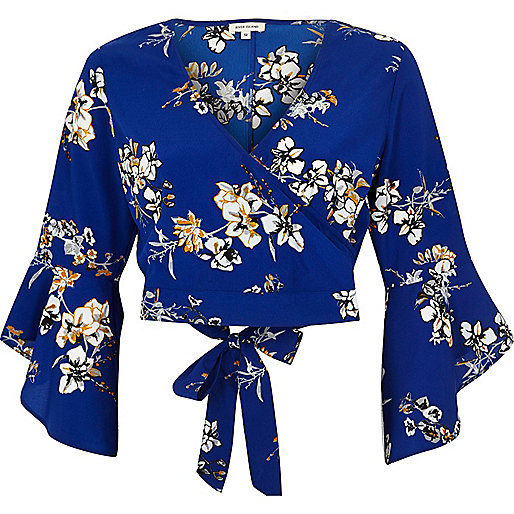 Blue floral print wrap crop top