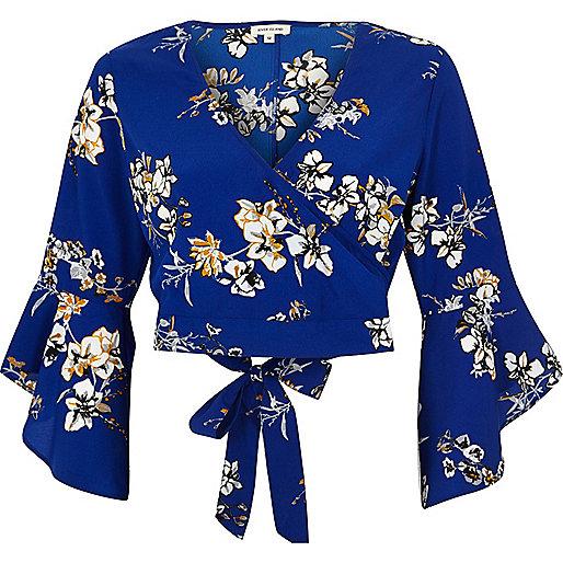 Blue floral print wrap crop top