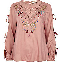 Pink embroidered tie sleeve smock top