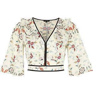 Cream floral print frill crop top