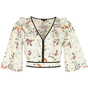 Cream floral print frill crop top