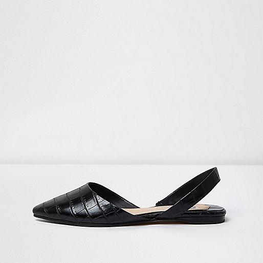Zwarte puntige slingback schoenen met krokodillenprint