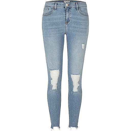 Light blue ripped Amelie super skinny jeans