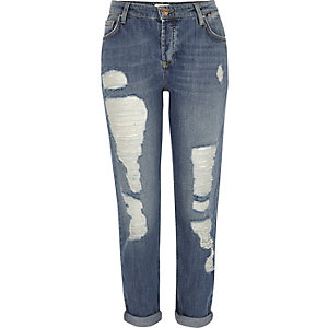 Mid blue ripped ladder Ashley boyfriend jeans
