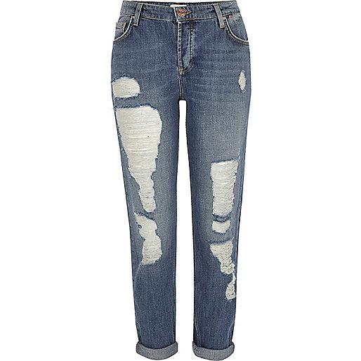 Mid blue ripped ladder Ashley boyfriend jeans