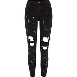 Black ripped paint Alannah relaxed fit jeans