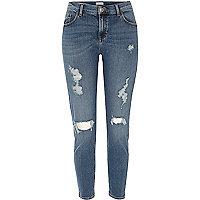 Alannah – Mittelblaue Skinny Jeans im Used-Look