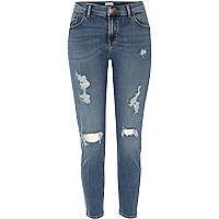 Mid blue Alannah relaxed ripped skinny jeans