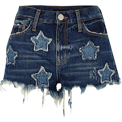 Mini short en jean bleu moyen délavé à écussons étoile