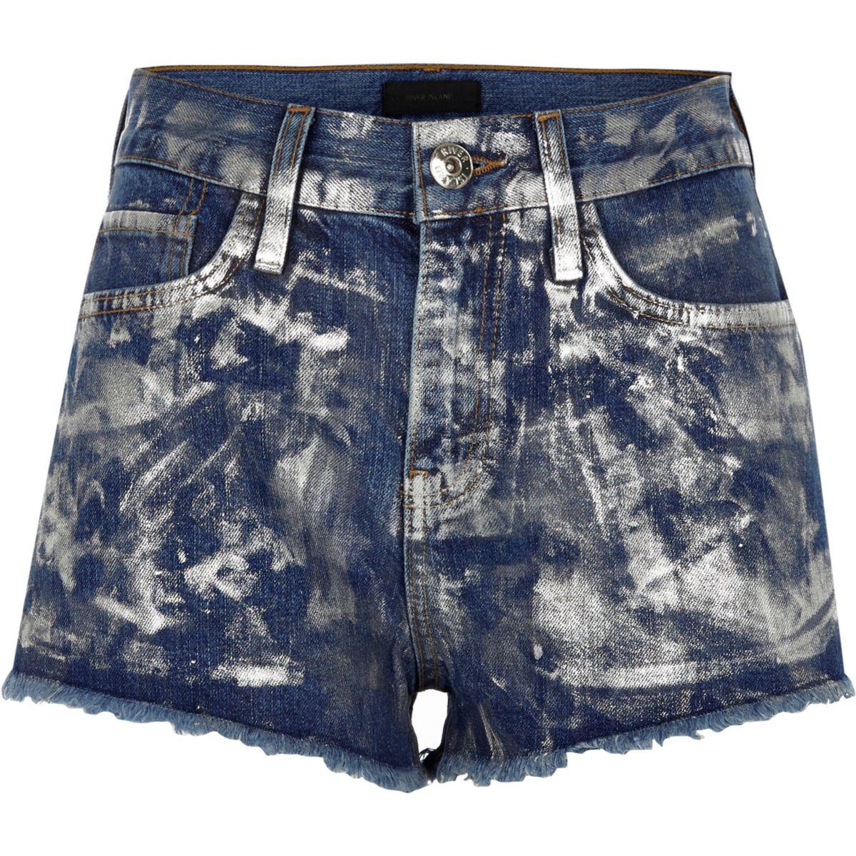 Mid blue metallic paint denim hot pants
