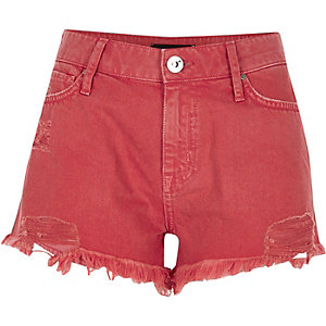 Orange distressed denim hot pants