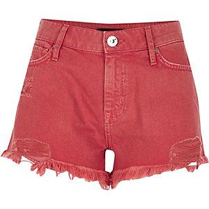 Mini short en jean usé orange