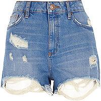 Short en jean usé taille haute