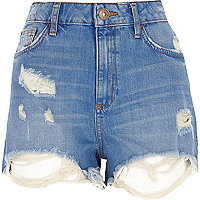 Denim distressed short met hoge taille