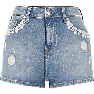 Mid blue wash distressed pearl denim shorts
