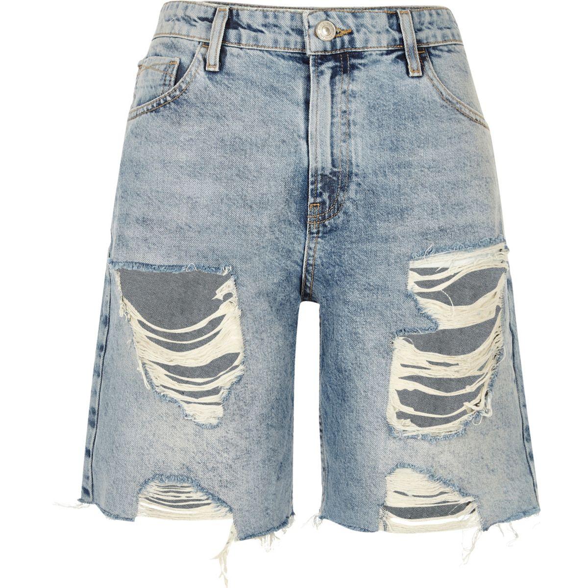 MId wash ripped denim boyfriend shorts