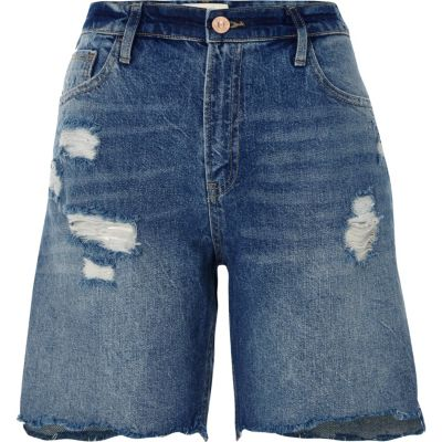 Donkerblauwe distressed denim boyfriend short
