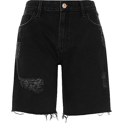 Black distressed denim boyfriend shorts