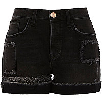 Washed black frayed patch boyfriend shorts