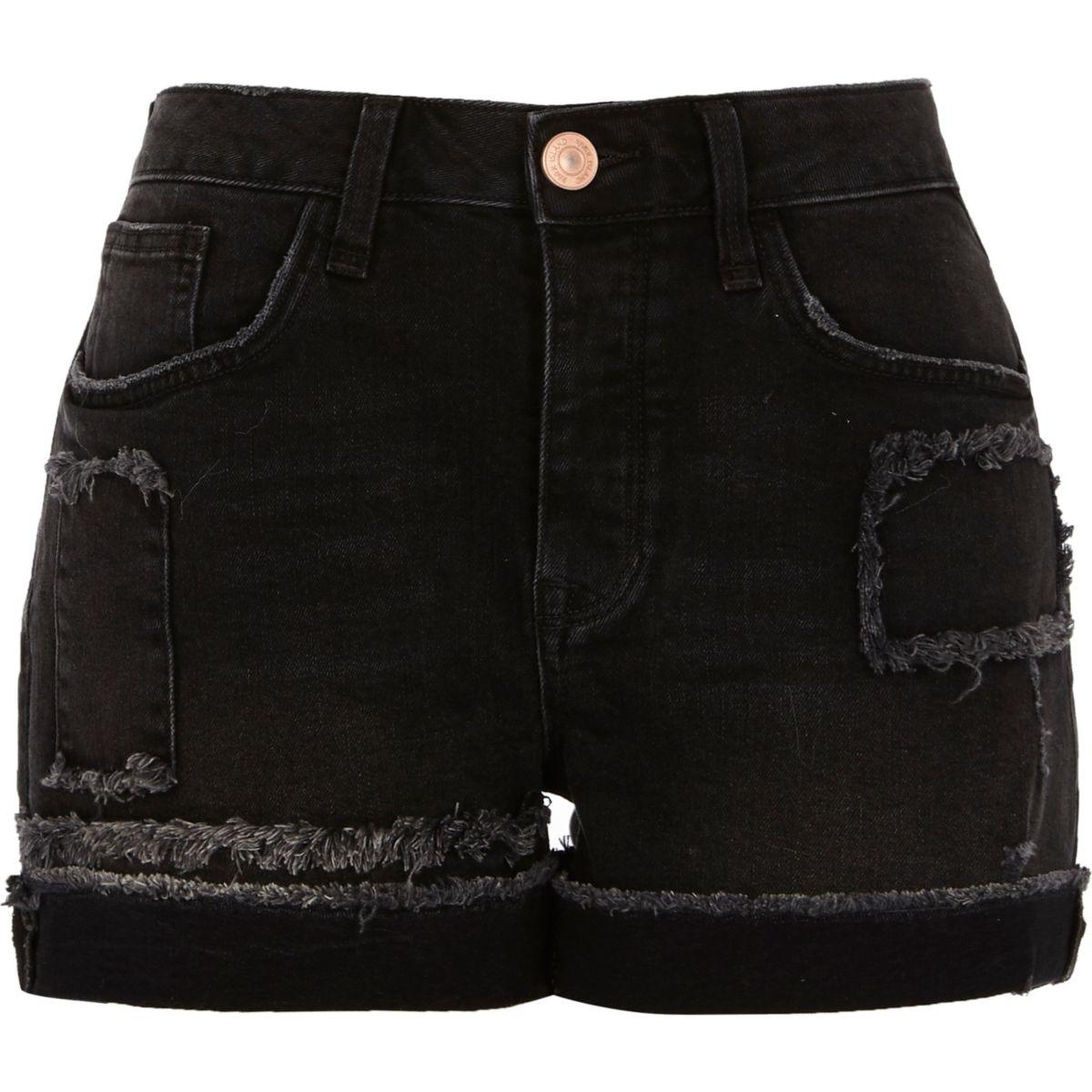 Washed black frayed patch boyfriend shorts
