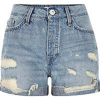 Mid blue wash ripped boyfriend denim shorts