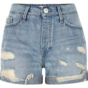 Mid blue wash ripped boyfriend denim shorts