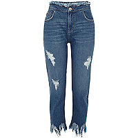 Blue wash frayed hem straight leg jeans