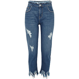 Blue wash Lori slim fit frayed jeans