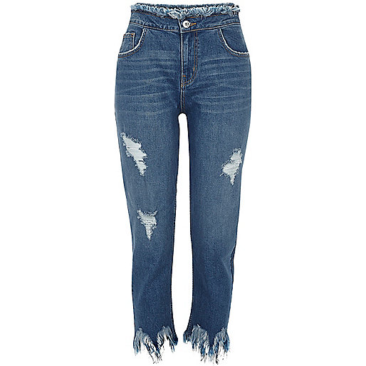 Blue wash frayed hem straight leg jeans