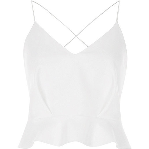 White frill cami crop top