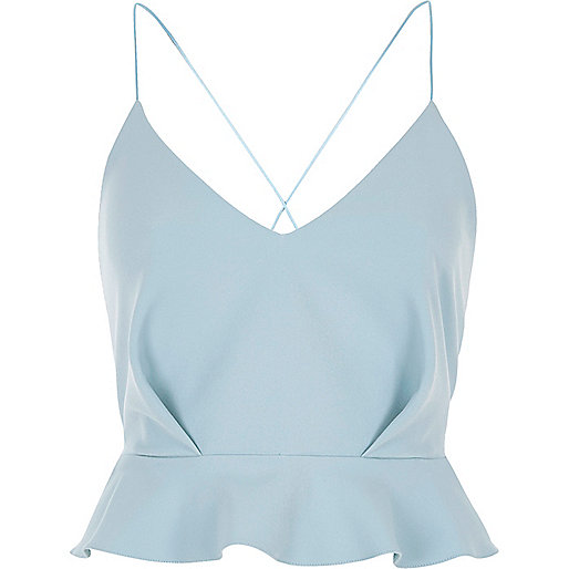 Light blue satin frill cross back crop top