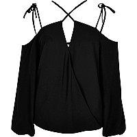 Black crossover strappy cold shoulder top