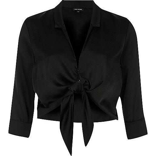 Black satin tie front shirt
