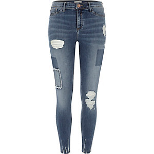 Blue wash Molly rip and repair jeggings