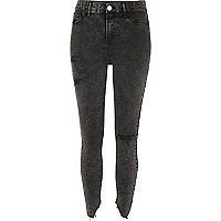 Black acid wash ripped skinny Molly jeggings