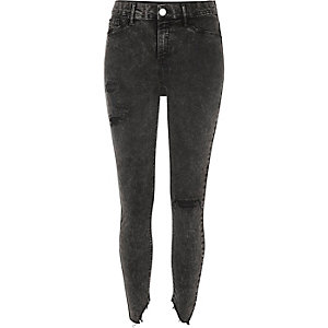 Molly - Zwarte acid wash ripped skinny jegging