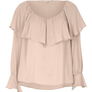 Light pink deep frill trumpet sleeve top