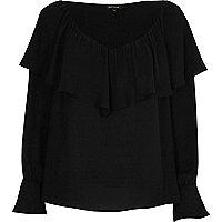 Black deep frill bell sleeve top